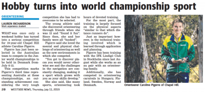 Caroline in Westside News - Hobby turns into World Championship Sport